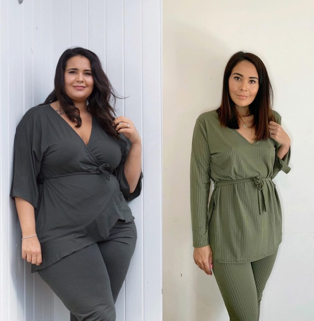 An image of two ladies, who are the same....but very different. The image on the left is of Nancy when she weighed 19st, the image on the right is after her weight loss surgery. She talks about her gastric surgury experience with Roberto on The Secrets Of Weight Loss Podcast.