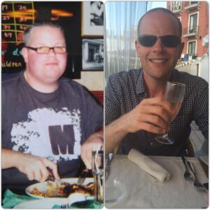 this image shows two pictures of the same man, Roberto - the host of the Secrets of Weight Loss Podcast. The image of him on the left is from when he was fat and weighed twenty three and a half stone. The image on the right is of him after he had lost ten stone.